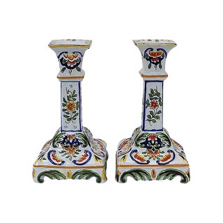 Antique French Faience Candlesticks - a Pair For Sale