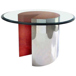 "1980s Minimalist Leon Rosen for Pace Chrome and Lacquered Wood ""Pie Table"""
