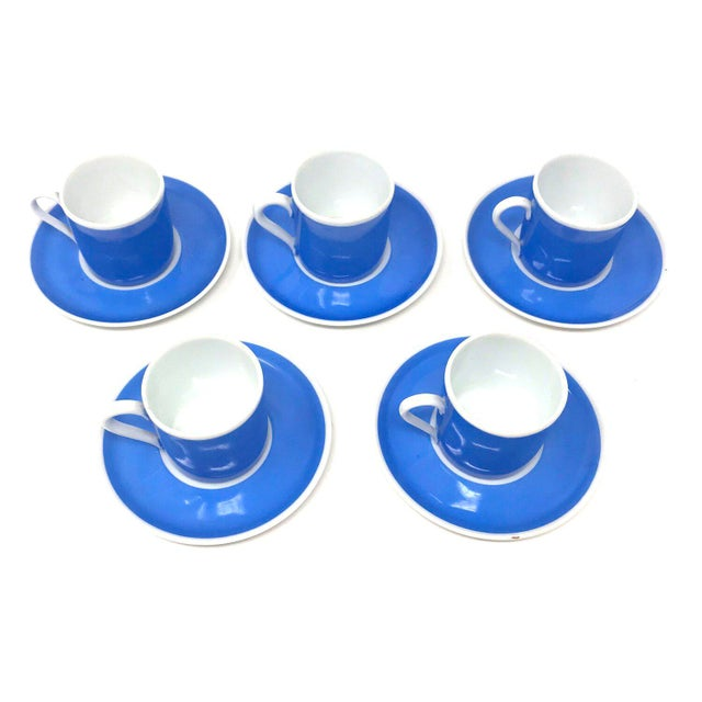 Mid-Century Modern Set of Five Vintage Czechoslovakian Espresso Cups With Saucers For Sale - Image 3 of 7