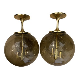 Mid-Century Modern Lightcraft of California Brass 1960s Semi-Flush Mounted Light - a Pair For Sale