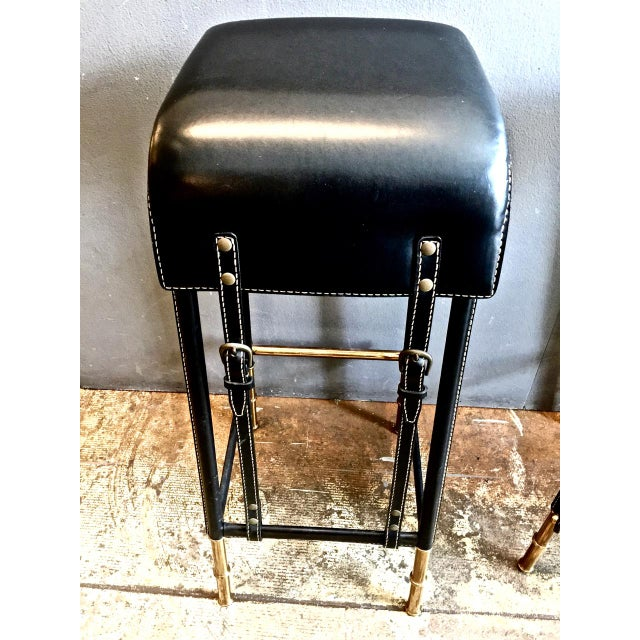 1950s Pair of Jacques Adnet Bar Stools, C. 1950s For Sale - Image 5 of 12