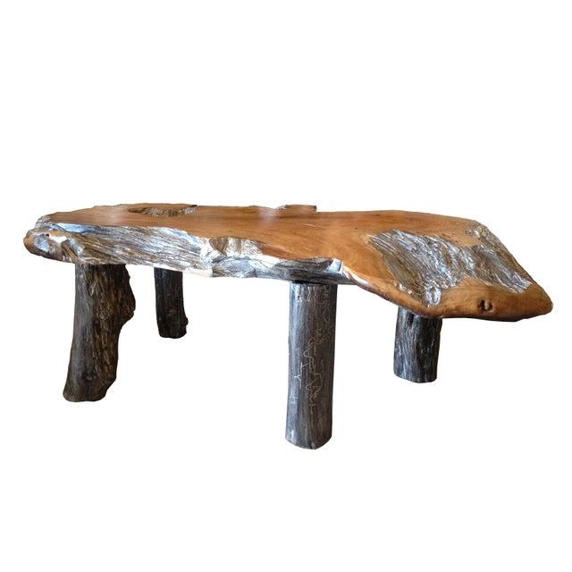 Rustic Natural Edge Teak Slab Coffee Table - Image 3 of 7