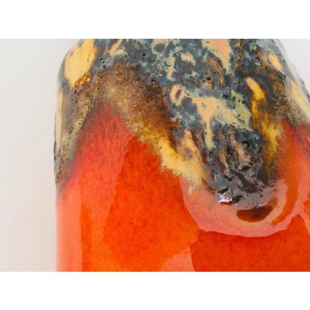 Midcentury West German Fat Lava Orange Bauhaus Vase, 1960 For Sale - Image 11 of 13