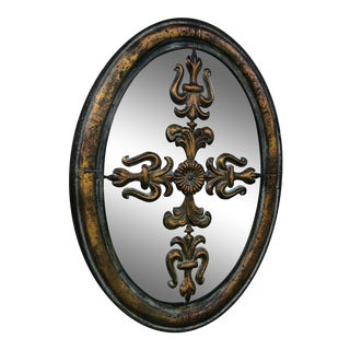 Vintage Metal Wall Hanging Mirror Background For Sale
