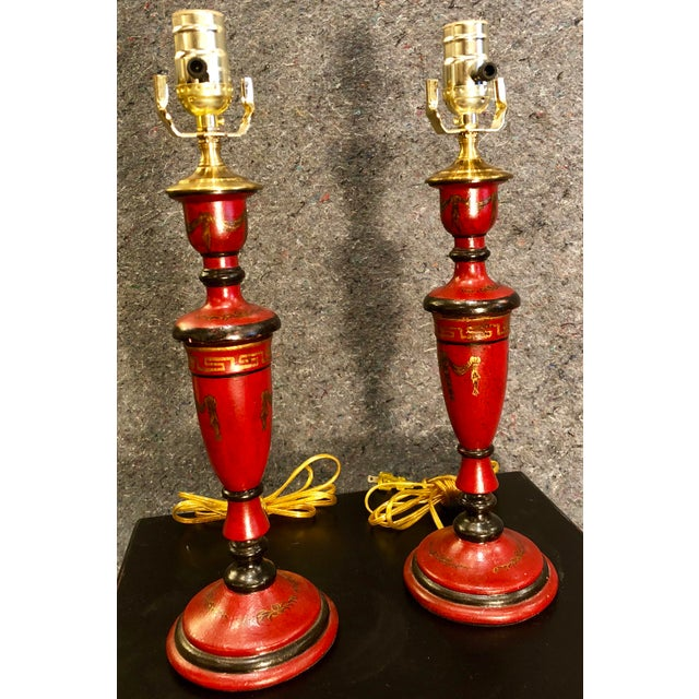 20th Century Chinoiserie Red Candlestick Lamps - a Pair For Sale - Image 9 of 9