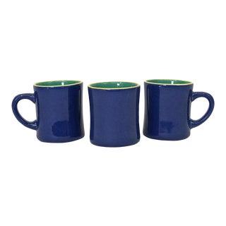 Thai Blue Pottery Mugs, Set of 3