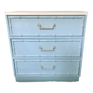 20th Century Hollywood Regency Powder Blue Faux Bamboo Chest of Drawers For Sale