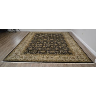 "Hand Tied Fine Quality Black Tan & Gold Large Room Size Persian Rug 14'5""x 10' Preview"