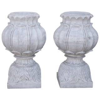 Vintage Mid Century Hand-Carved Two-Part Pure Marble Garden Vases- A Pair For Sale