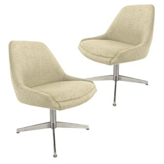 Pair of Sculptural Mid-Century Modern Bucket Chairs on Steel Base For Sale