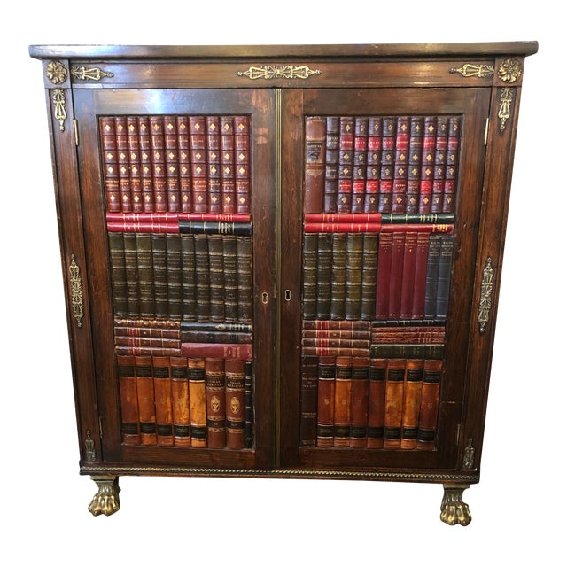 19th Century Antique Regency Rosewood Grain Painted Bookcase Cabinet For Sale