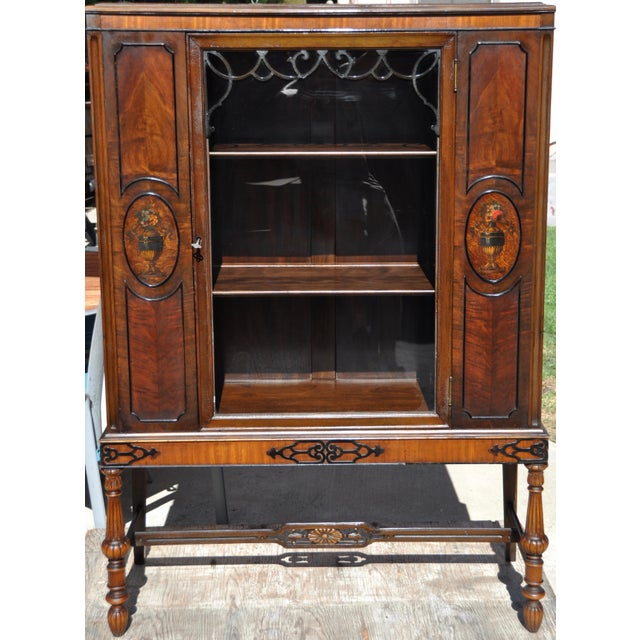 Berkey & Gay Hand Painted Victorian Mahogany China Display Cabinet For Sale - Image 13 of 13