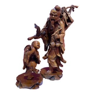 Antique Boxwood Fisherman With Boy - Set of 2 For Sale
