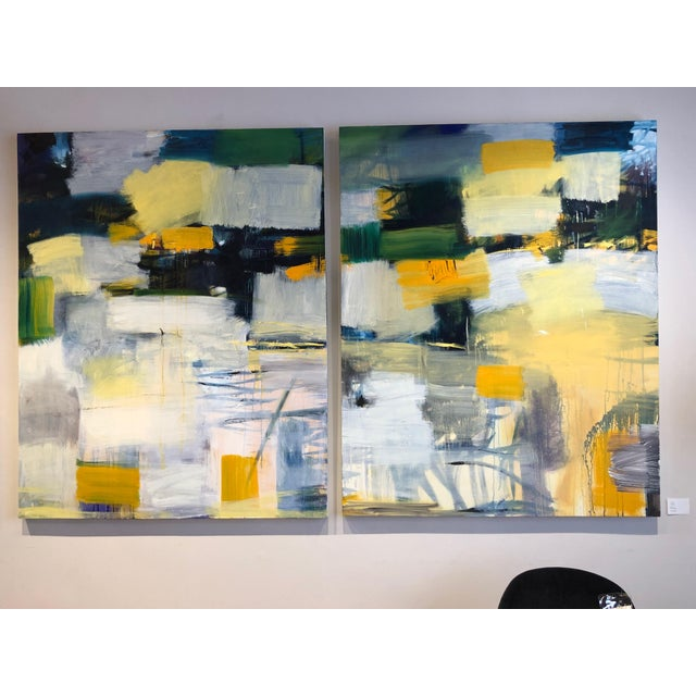 Oil on canvas diptych painting. Signed by artist.