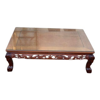 Mid-Century Modern Chinese Rosewood Clawfoot Coffee Table For Sale