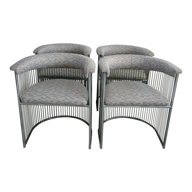 Platner Style Chrome & Fabric Chairs - Set of 4 - Image 1 of 3
