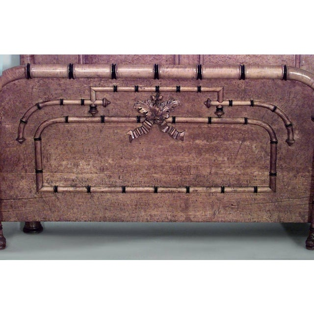 Mid 19th Century American Victorian Faux Bamboo Maple Queen-Size Bed For Sale - Image 5 of 7