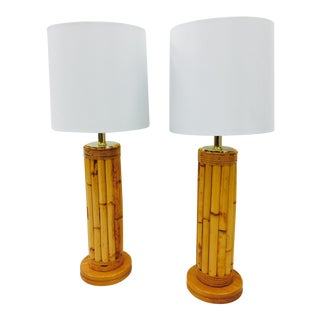 Vintage Bamboo & Brass Lamps - A Pair For Sale