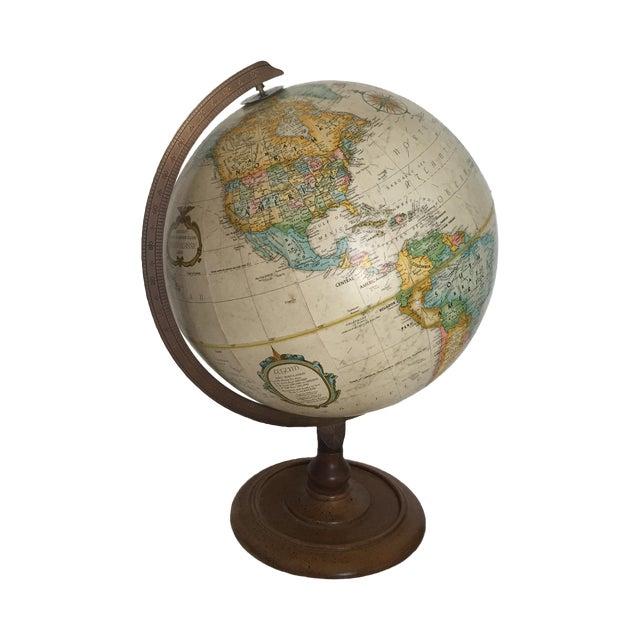 Vintage World Globe on Wooden Base - Image 1 of 3