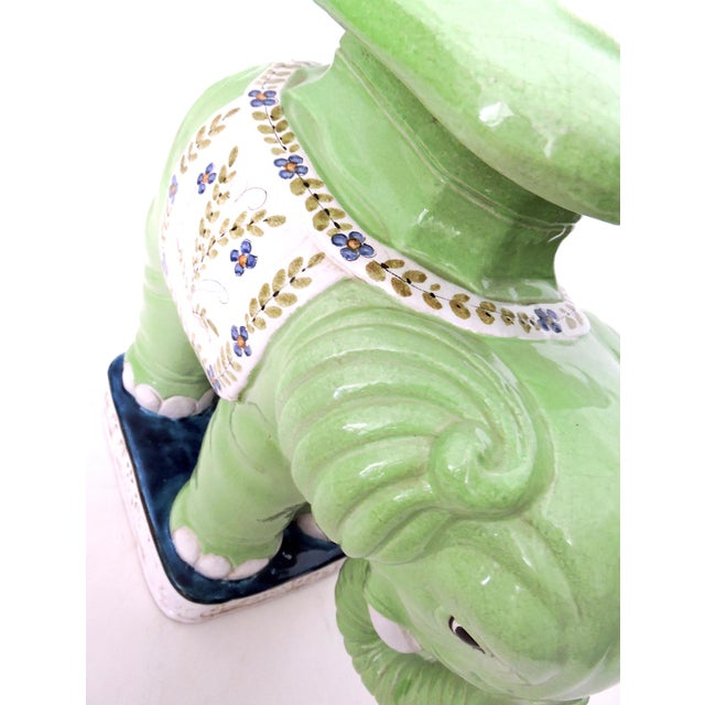 Large Lime Green Italian Elephant Garden Seat/Stool/Side Table For Sale - Image 4 of 7