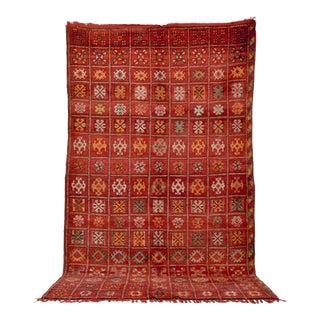 "Vintage Moroccan Boujad Red Wool Floor Rug - 6'9"" X 10'5"" For Sale"