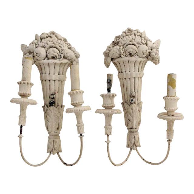 White Wood Sconces With Cornucopia Motif - A Pair For Sale