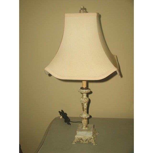 Early 1900's Shabby Chic Metal Marble Rewired Lamp - Image 2 of 8