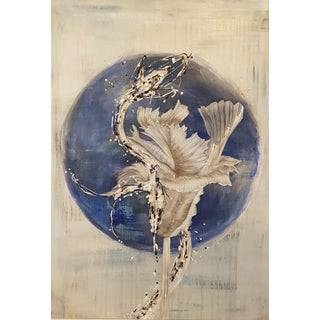 """White Moon"" Mixed Media Murano Glass Painting For Sale"