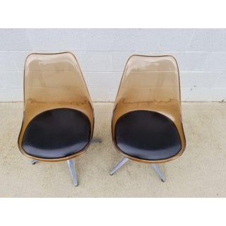 Mid Century Chromcraft Brown Lucite Side Chairs- a Pair Preview