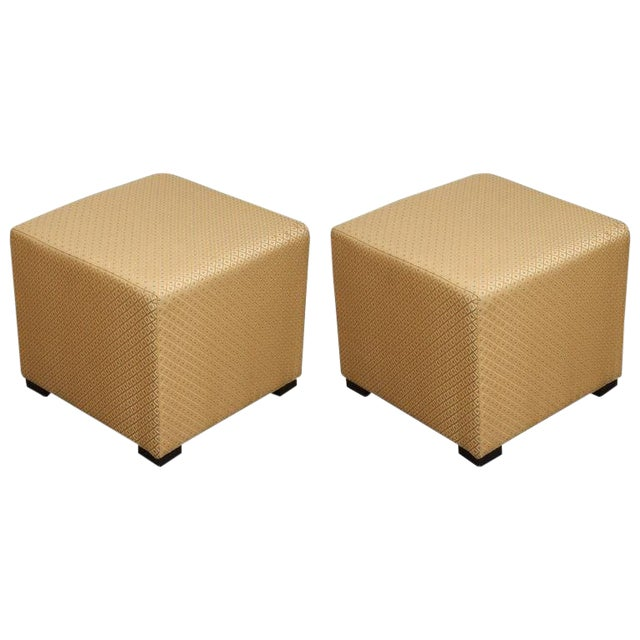 Pair of Gold Cube Upholstered Moroccan Ottomans, Poufs For Sale
