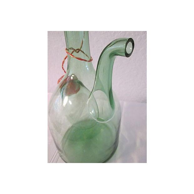 Vintage Italian Green Blown Glass Wine Carafe - Image 6 of 8