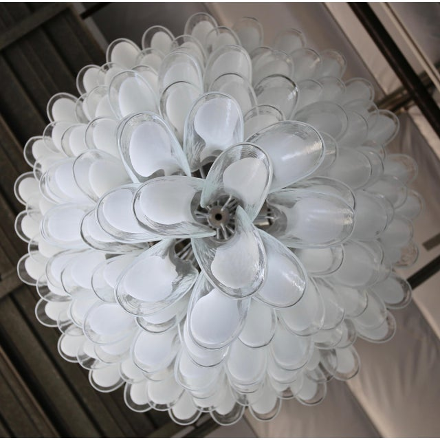 "Mid-Century Modern Mazzega Large Scale Murano "" Selle "" Glass Chandelier Circa 1988 For Sale - Image 3 of 13"