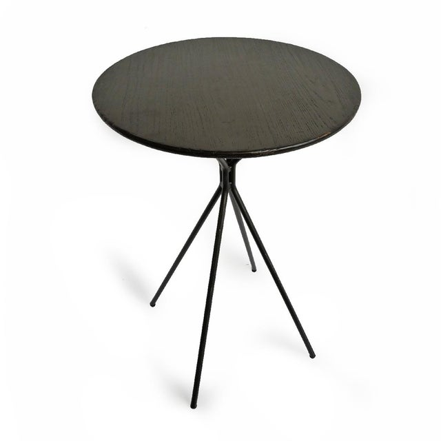 Contemporary Modern Black Wood Top Side Table For Sale - Image 3 of 4