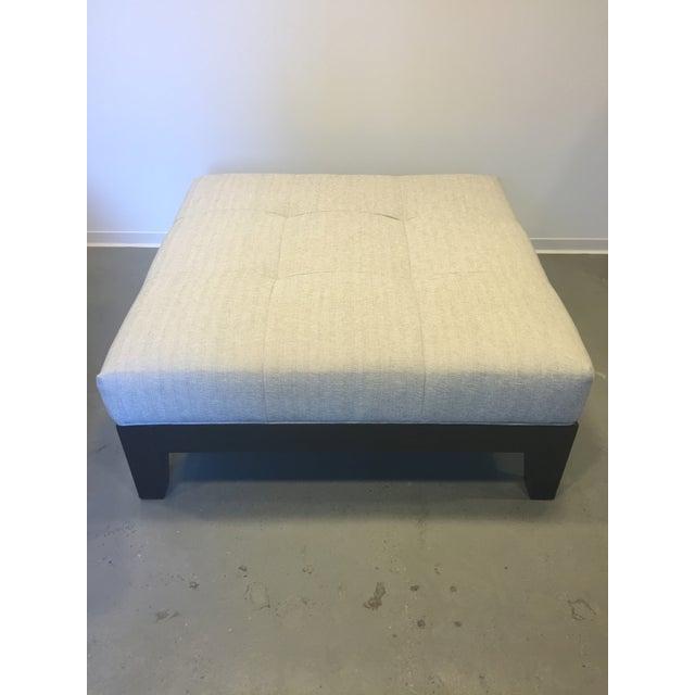 Modern Belgian Linen Upholstered Ottoman - Image 2 of 8