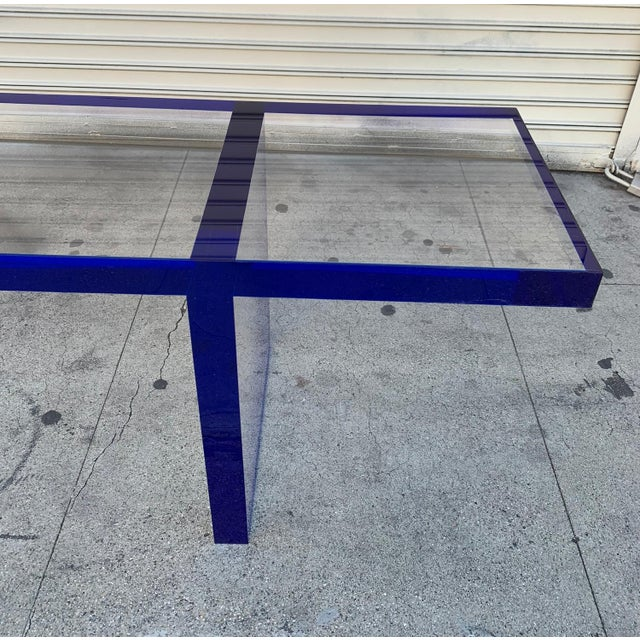 Custom Bench in Deep Blue and Clear Lucite by Cain Modern For Sale In Los Angeles - Image 6 of 13