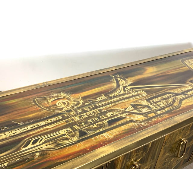 Bernhard Rohne Acid Etched Brass Credenza for Mastercraft 1970's For Sale - Image 10 of 13