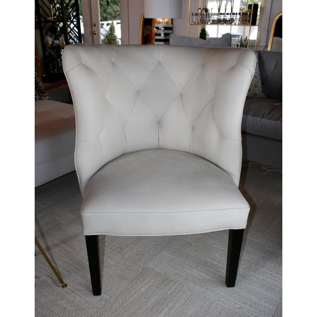 Hollywood Regency Marvell Ivory Leather Goodman Chair For Sale - Image 3 of 5
