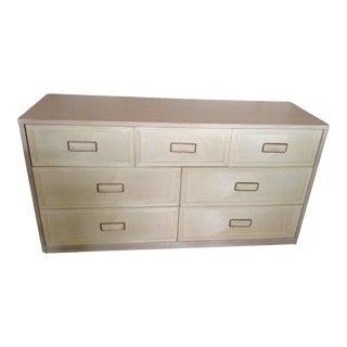 Vintage Henry Link Mid Century Modern Coastal Cerused White Wash Pencil Reed 7 Drawer Dresser For Sale