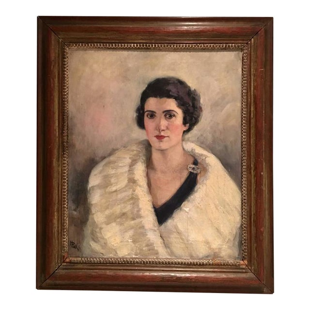 Early 20th Century Original Oil Painting Female Portrait -Framed & Signed By, H. Pink For Sale