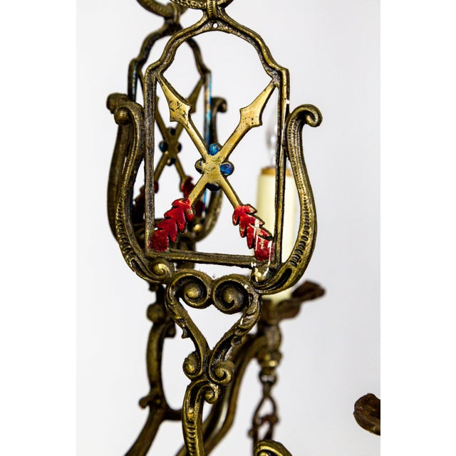 Metal Medieval Revival Coat of Arms and Painted Arrows Chandelier For Sale - Image 7 of 8