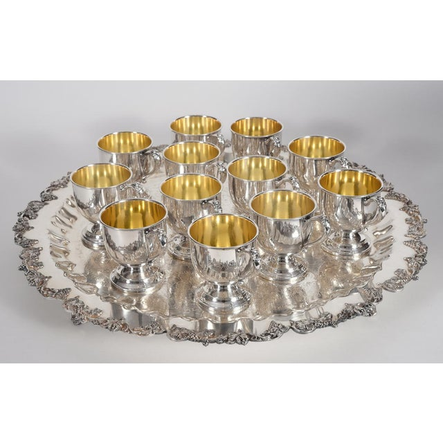 Vintage English Georgian Style Silver Plated & Copper Punch Bowl Set of 15 For Sale - Image 10 of 12
