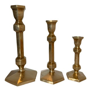 Solid Brass Candlesticks - Set of 3 For Sale