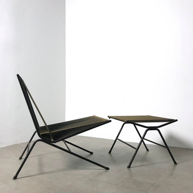 """Rare """"Bow"""" or """"String"""" lounge chair and ottoman designed by Allan Gould USA 1952. Hemp cord seat woven onto iron frame...."""