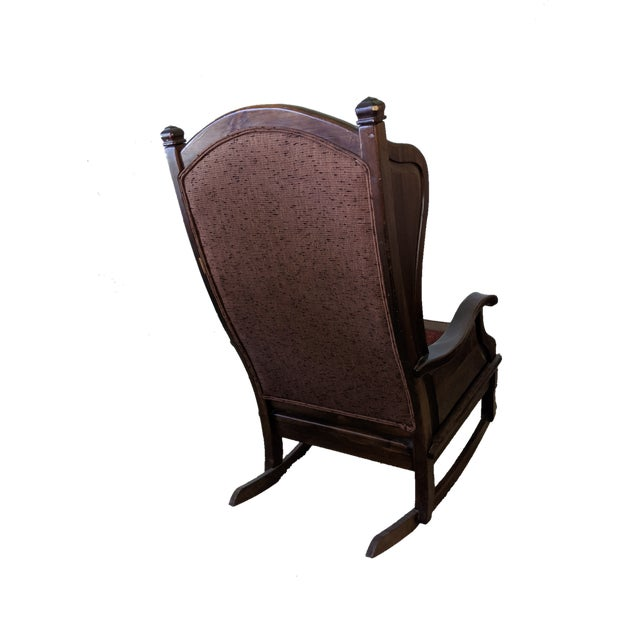 Original Boone Trail Collection by Maxwell Chair Company, NC. Pieced upholstery, wood wingback rocking chair.