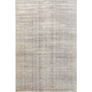 Transitional Schumacher Patterson Flynn Martin Fujisan Hand Knotted Wool Silk Striped Rug - 9′ × 12′ For Sale