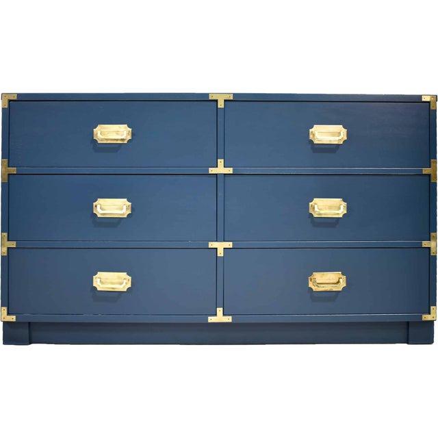 1970s Blue Six Drawer Campaign Dresser or Chest - Newly Painted For Sale - Image 12 of 12