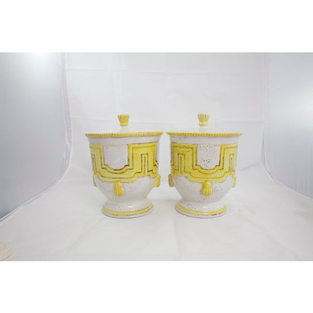 White Large 1950s Italian Pottery Jars For Sale - Image 8 of 11