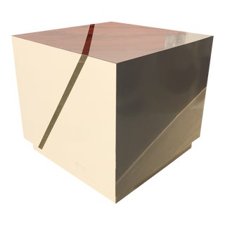 Post-Modern Cream Laminate/Brass Inlay Cube Side Table For Sale