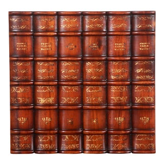 Maitland Smith Carved Wood Faux Books Panel for Bookshelf For Sale