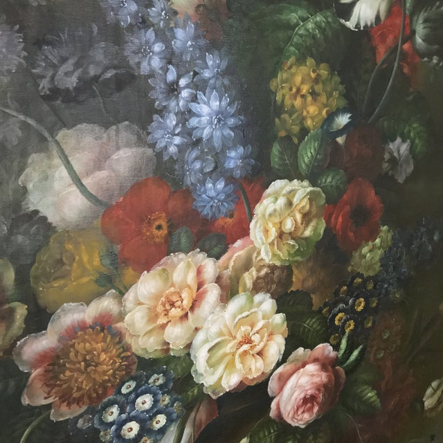 Late 20th Century Nancy Lee Floral Still Life Oil on Canvas Painting For Sale - Image 10 of 11
